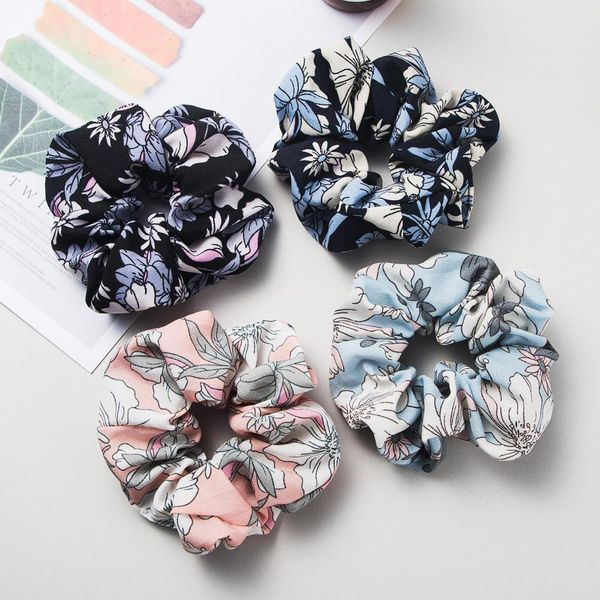 Korean new simple mixed color wild printed fabric head rope cheap rubber band wholesale NHLN204728