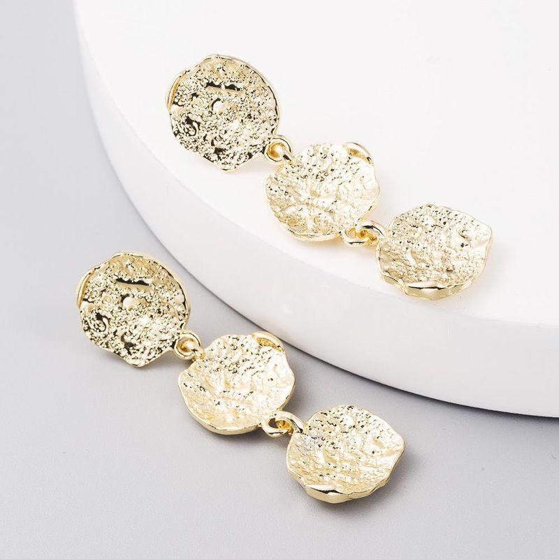 Exaggerated Earrings Geometric Water Drop Round Earrings Retro Simple Alloy Earrings NHLN204730
