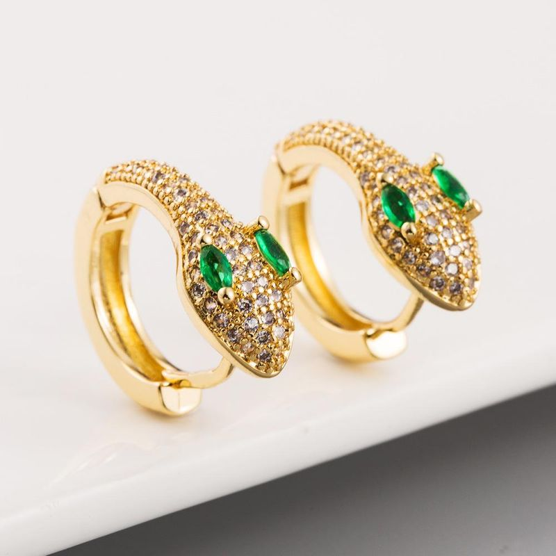 Fashion earrings for women inlaid zircon copper plated 18K gold snake earrings Korean French stud earrings NHLN204733