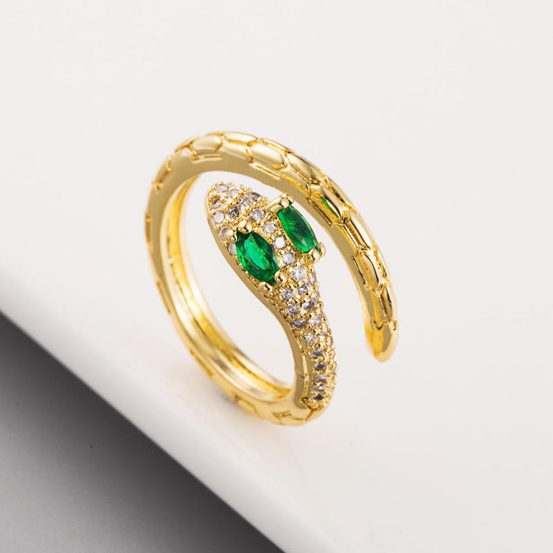 New Micro Inlaid Zircon Cobra Ring Copper Plated 18K Ring Wholesale NHLN204734