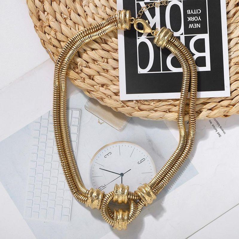 New fashion hip-hop bundy tide wild double chain necklace women wholesale NHJQ204716