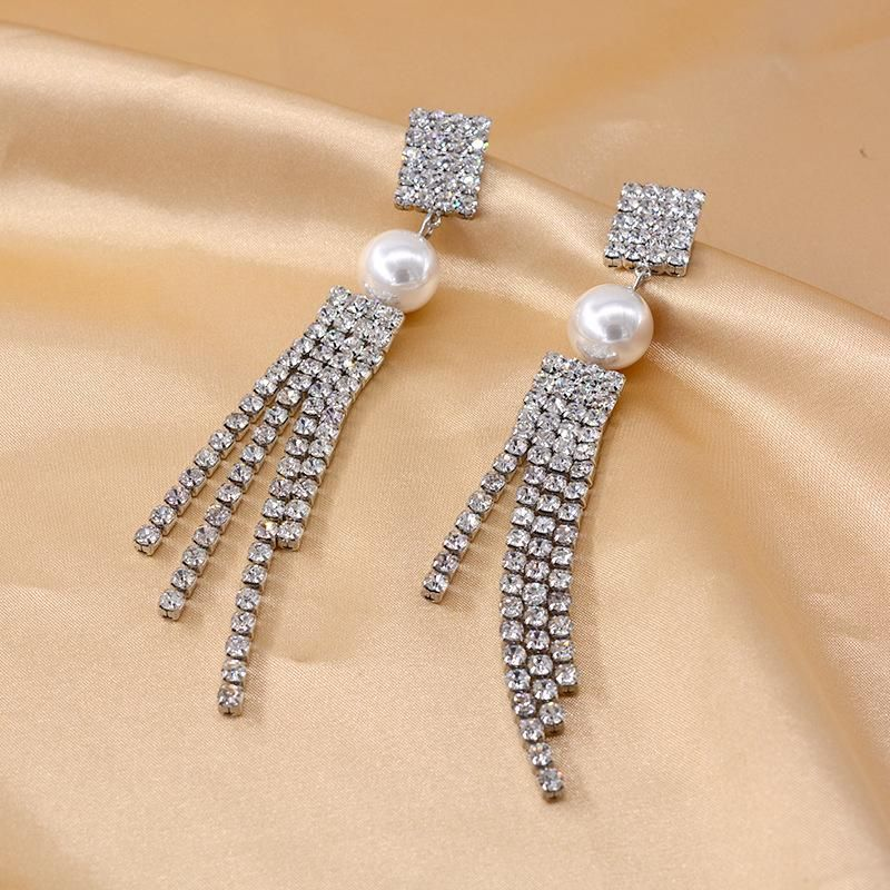 Korean pearl earrings long tassel rhinestone earrings new fashion simple earrings NHNT204570