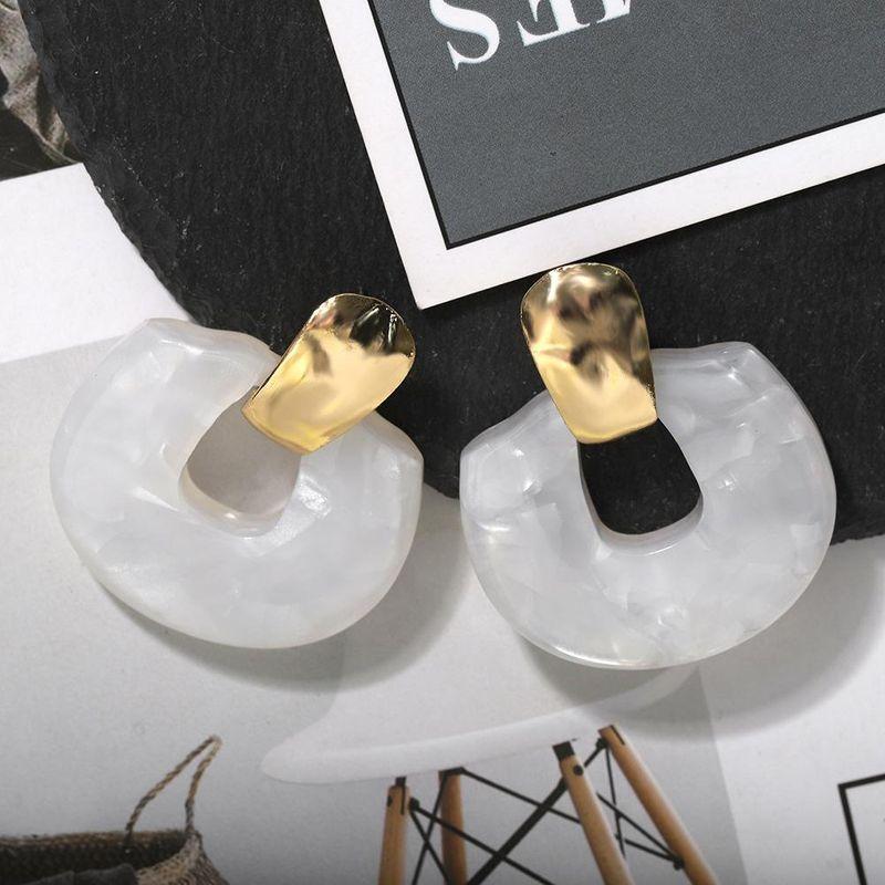 Acetate plate semi-circular stitching pendant earrings beautiful earrings  NHJQ204725