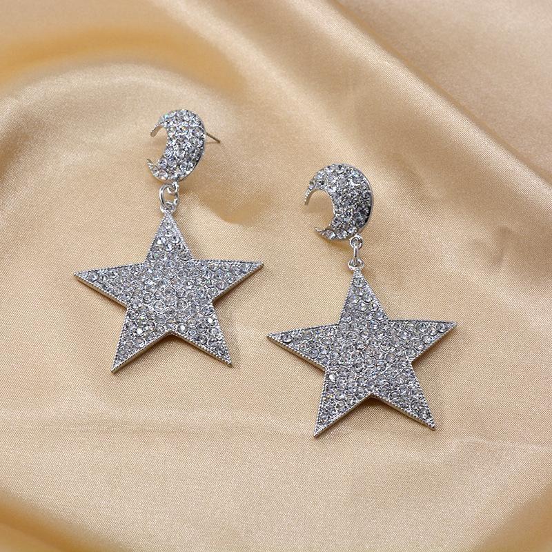Flash diamond pentagram big earrings long earrings Korean earrings exaggerated earrings female NHNT204573