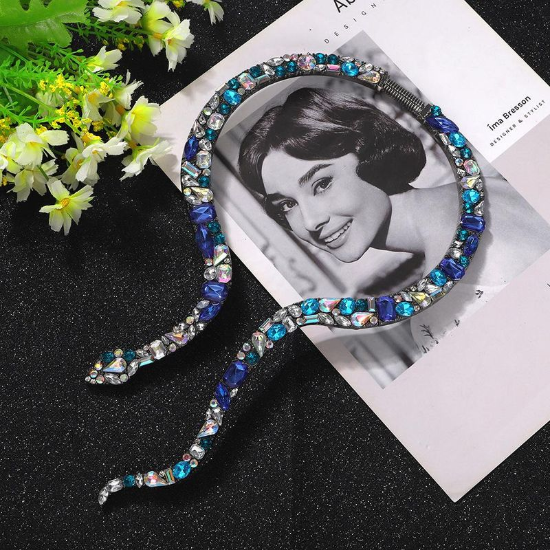 New Fashion Super Flash Full Diamond Snake Collar Women Exaggerated Necklace Wholesale NHJQ204726