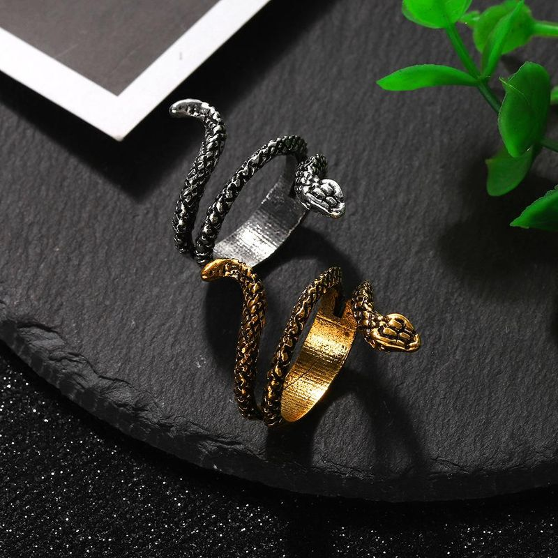 Fashion irregular dark alloy snake ring with jewelry women NHJQ204722