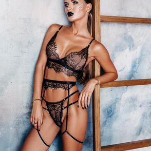 New fashion sexy three-piece lace see-through three-point sexy lingerie NHYO204752's discount tags