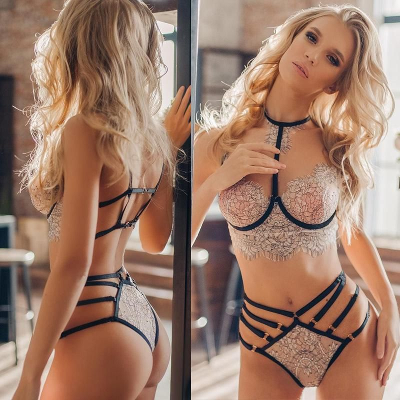 New fashion sexy lingerie two-color perspective lace three-point sexy bra pajamas NHYO204754
