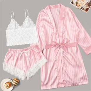 New fashion sexy lingerie pink stripe coat lace sexy bra panties three-piece NHYO204755's discount tags