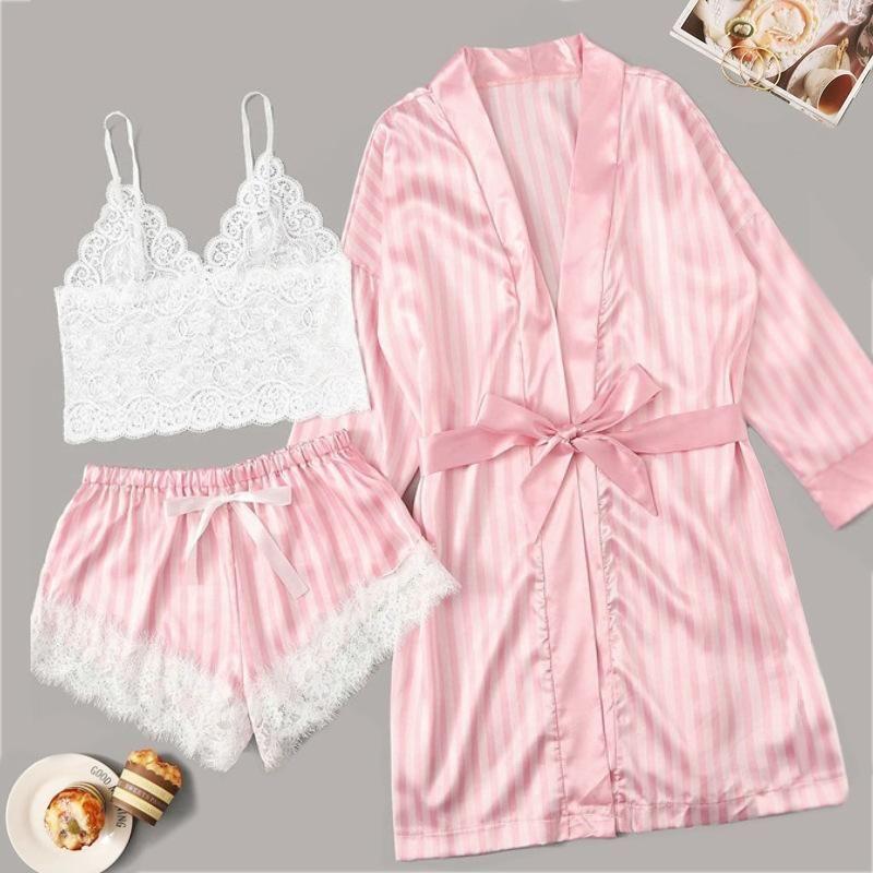 New fashion sexy lingerie pink stripe coat lace sexy bra panties three-piece NHYO204755