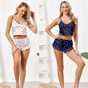 New two-piece suspender shorts sweet and cute sexy heart print pleated pajamas NHYO204757's discount tags