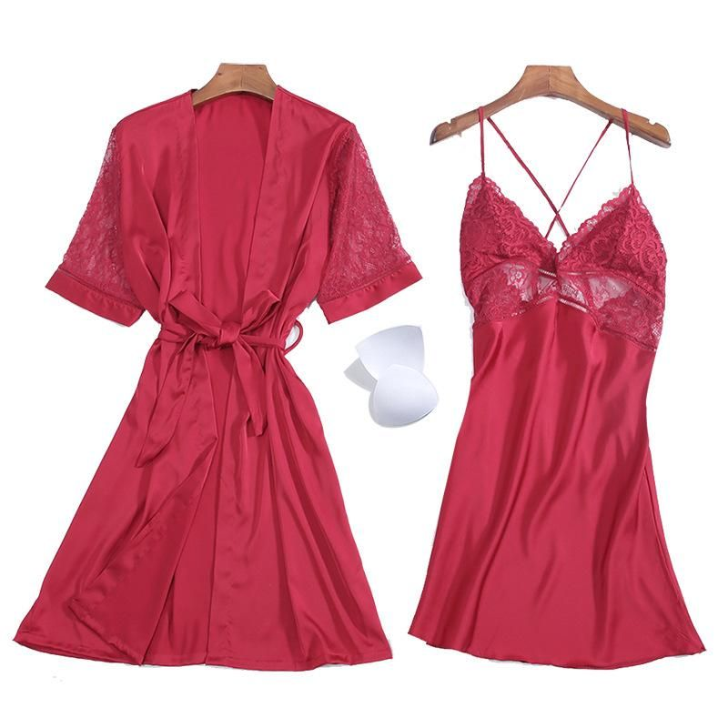 Silk ladies home service sexy chest skirt with chest pads seven-quarter sleeves hollow pajamas two-piece wholesale NHMR204758