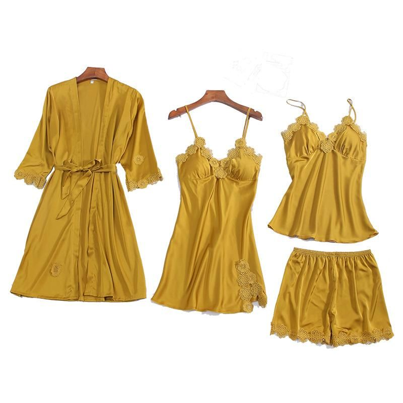 New fashion strap nightdress nightgown strap shorts four-piece suit wholesale NHMR204759