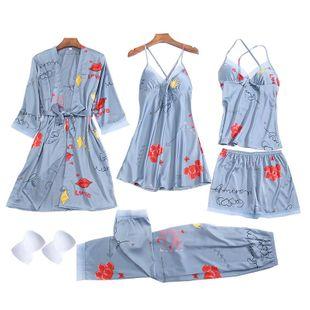Women's pajamas printing sexy suspenders short suspenders pajamas five-piece multi-suit home service NHMR204761's discount tags