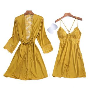 Silk lady's home service with chest pad sexy nightdress tempting open-back hollow nightgown two-piece set NHMR204763's discount tags