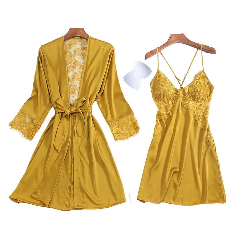 Silk lady's home service with chest pad sexy nightdress tempting open-back hollow nightgown two-piece set NHMR204763