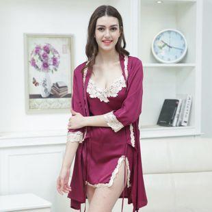 Simulation silk pajamas nightdress two-piece sexy pajamas ladies embroidery lace pajamas wholesale NHMR204764's discount tags