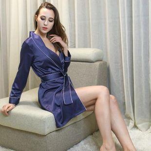 Women's Pyjamas Simulation Silk Pajamas Sexy Thin Long Bathrobes NHMR204767's discount tags