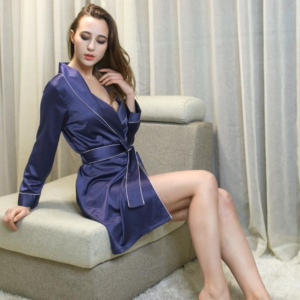 Women's Pyjamas Simulation Silk Pajamas Sexy Thin Long Bathrobes NHMR204767
