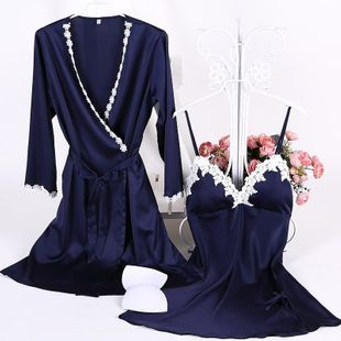 New cotton-trimmed silk belt chest pad sling gown set nine points sleeve sexy cardigan NHMR204769's discount tags