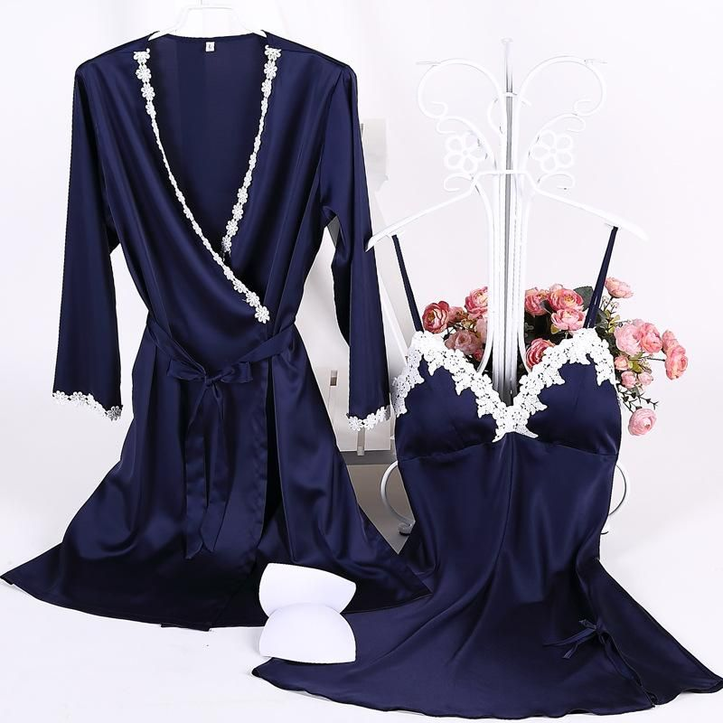 New cotton-trimmed silk belt chest pad sling gown set nine points sleeve sexy cardigan NHMR204769
