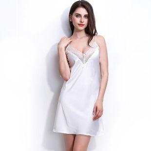 New fashion simulation silk strapless nightdress sexy deep V lace nightdress wholesale NHMR204771's discount tags