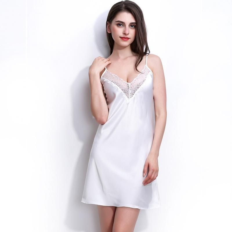 New fashion simulation silk strapless nightdress sexy deep V lace nightdress wholesale NHMR204771