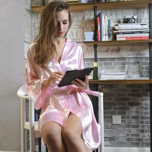 New ladies pajamas silk summer sexy pajamas home clothes bathrobes NHMR204772's discount tags