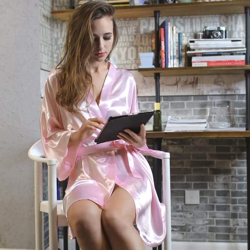 New ladies pajamas silk summer sexy pajamas home clothes bathrobes NHMR204772