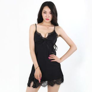 New fashion lace women's simulation silk sexy suspenders pajamas wholesale NHMR204773's discount tags