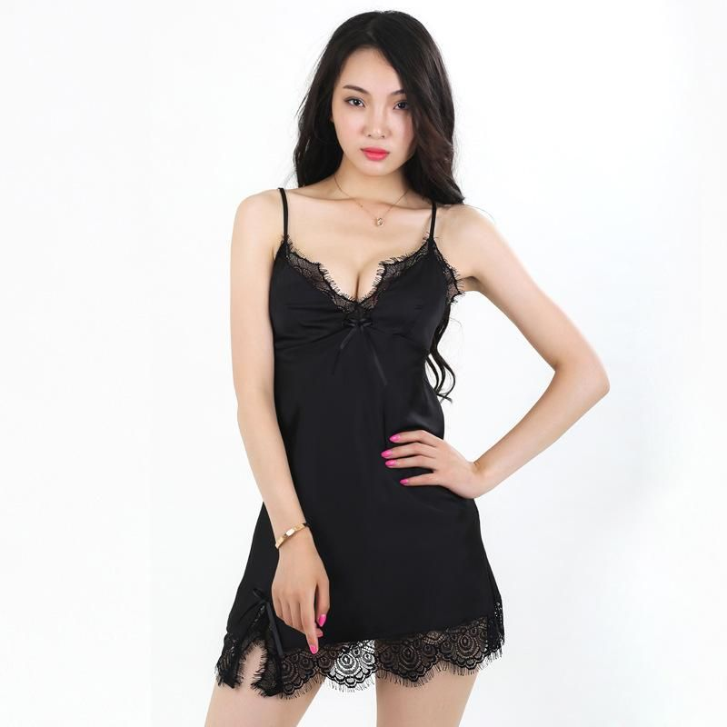 New fashion lace women's simulation silk sexy suspenders pajamas wholesale NHMR204773