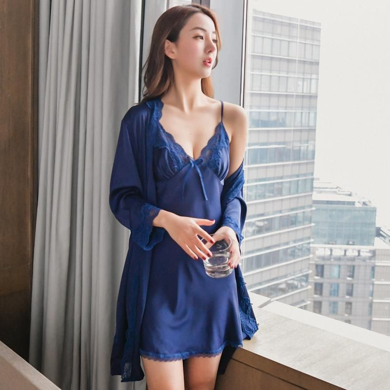 New pajamas two-piece suit with chest pad suspenders nightdress sexy thin cardigan bathrobe NHMR204779