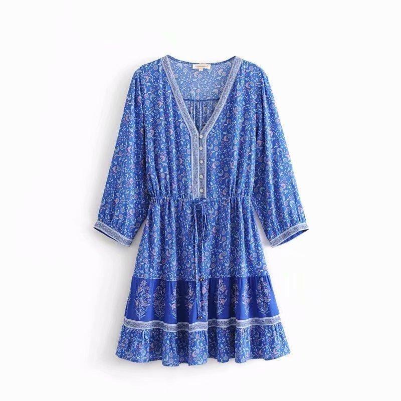 Wholesale Print Waist Tie Sleeve Cotton Dress NHAM204783