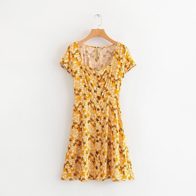 Wholesale New Retro Square Collar Breasted Short Sleeve Waist Dress NHAM204784