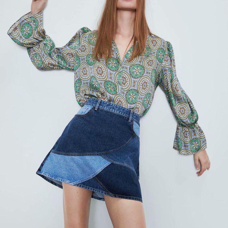 Wholesale patchwork denim mini skirt skirt short skirt NHAM204791
