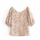 Wholesale Spring Retro Floral Word Shoulder VNeck Puff Sleeve Blouse NHAM204794