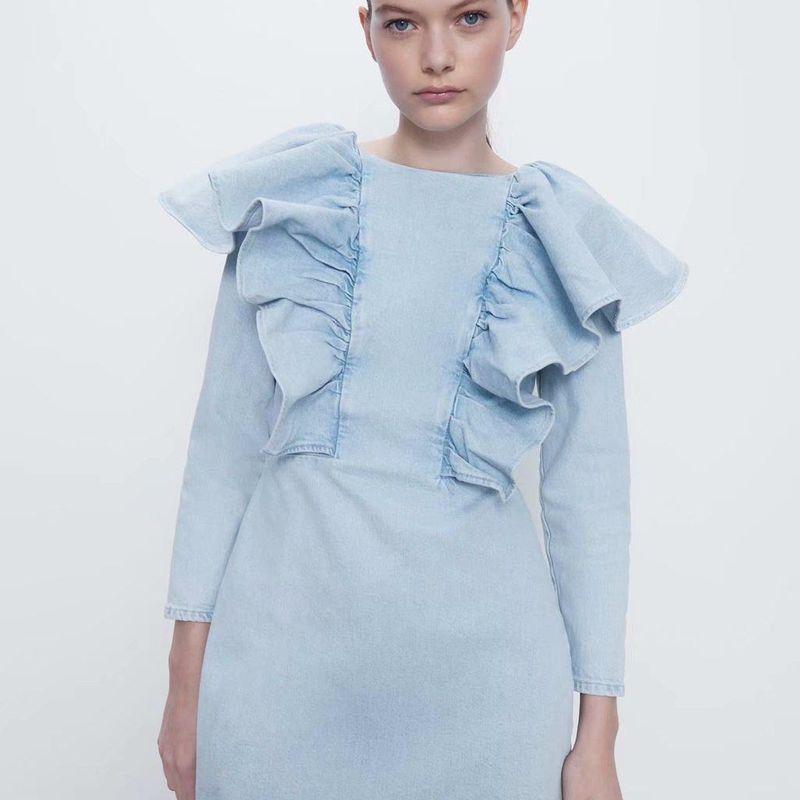 Wholesale denim ruffle dress suppliers china NHAM204801