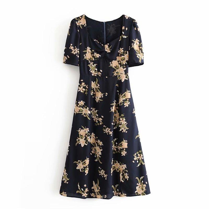 Wholesale French Print Short Sleeve Dress NHAM204802