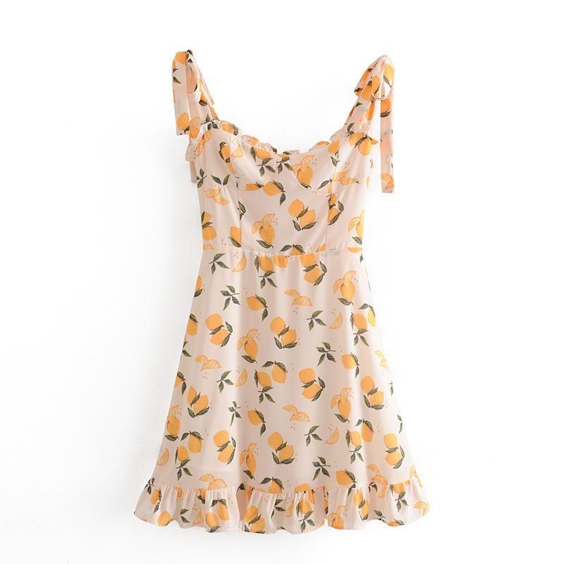 Retro Lemon Print Slim Fungus Lace Up Dress NHAM204806