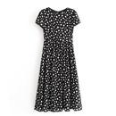Wholesale ancient round neck back spot shortsleeved dress NHAM204807