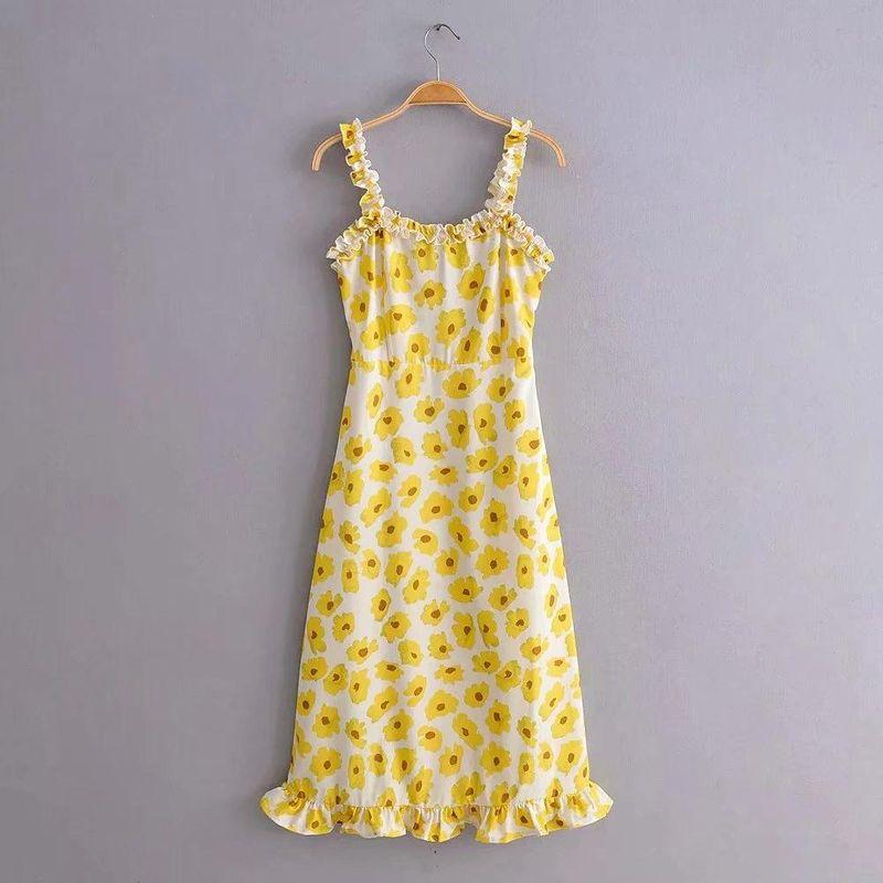 Wholesale Sun Flower Print Waist Lace Camisole Dress NHAM204811