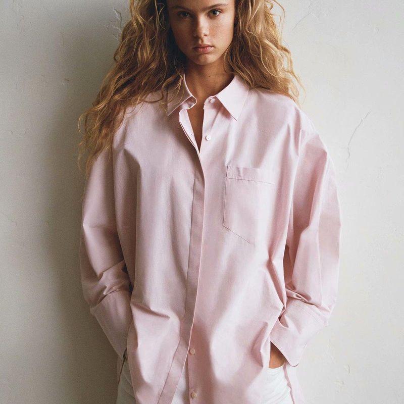 New Fashion Spring Loose Poplin Blouse Tops Wholesale NHAM204813