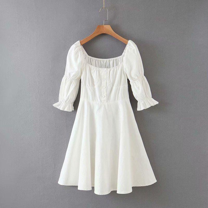 Wholesale cotton fashion elegant solid color square collar dress NHAM204817