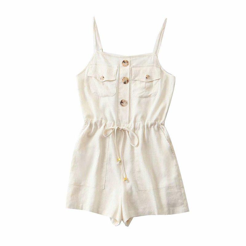 Wholesale New Fashion Spring Women's Drawstring Waist Button Down Cargo Overalls NHAM204820