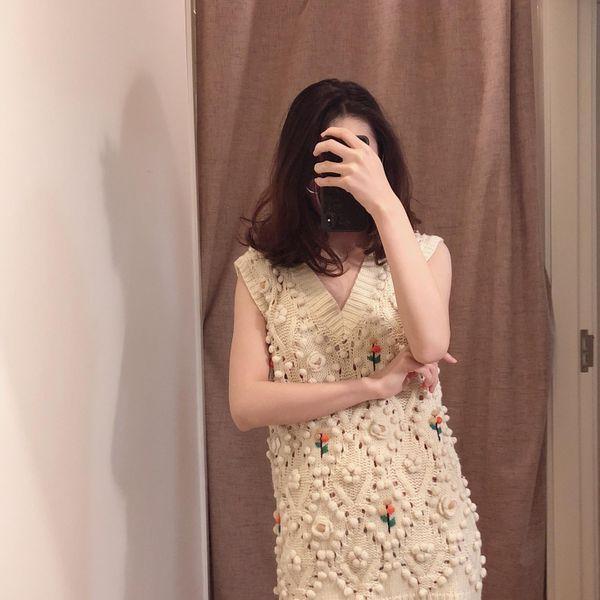 Wholesale Flower Decorative Knit Women's Vest Top suppliers china NHAM204823