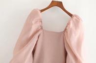 Wholesale spring organza stitching women39s Tshirt top NHAM204829
