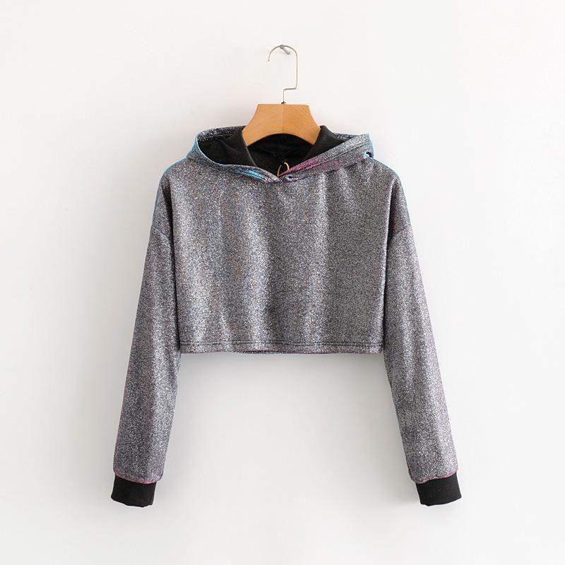 Wholesale Hip-hop Bright Silk Hoodie Sweater Women's Short Loose Loose Top NHAM204832