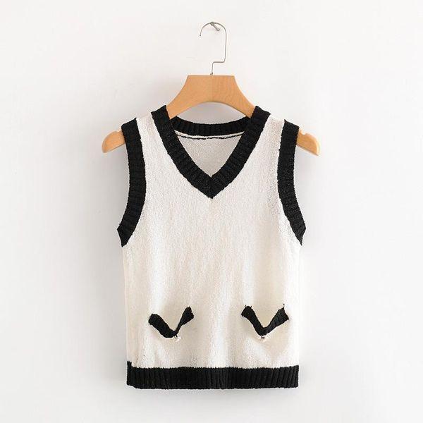 Wholesale New Fashion Contrast Sleeveless Knit Vest for women NHAM204835