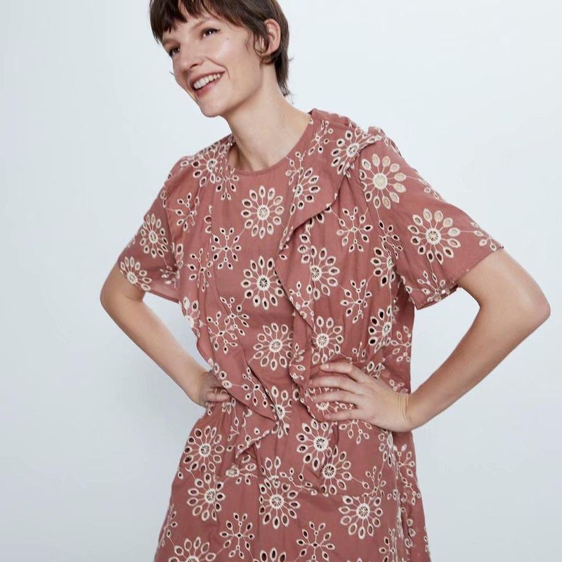 Hollow embroidery dress wholesale yiwu suppliers china NHAM204844