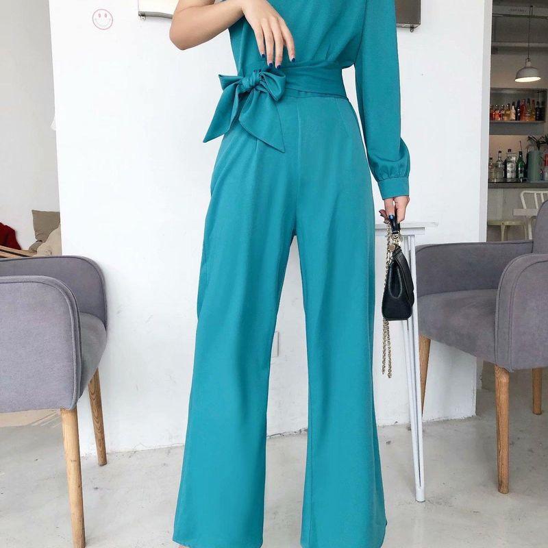 Wholesale new asymmetrical diagonal collar strapless strapless waist jumpsuit for women NHAM204852